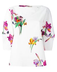 Etro | White Floral Print Blouse | Lyst