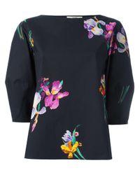 Etro | Black Floral Print Blouse | Lyst