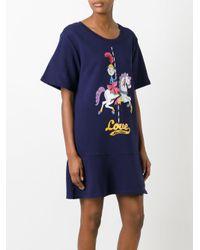 Love Moschino | Blue Printed T-shirt Dress | Lyst