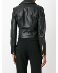Boutique Moschino | Black Pearl Embellished Biker Jacket | Lyst