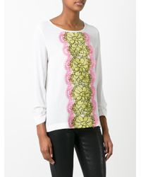 Boutique Moschino - Multicolor Lace Panel Blouse - Lyst