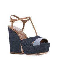 Sergio Rossi | Blue T-strap Platform Sandals | Lyst