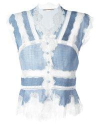 Ermanno Scervino - Blue Lace Inserts Blouse - Lyst