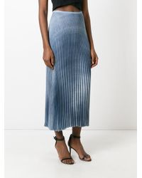 Ermanno Scervino - Blue Midi Pleated Skirt - Lyst