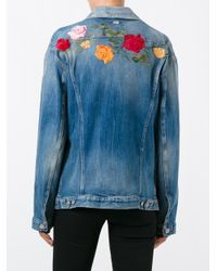 7 For All Mankind | Blue Embroidered Denim Jacket | Lyst
