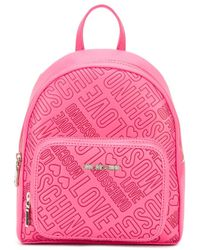 Love Moschino - Pink Logo Embossed Backpack - Lyst