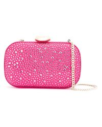 Love Moschino | Pink Embellished Clutch | Lyst