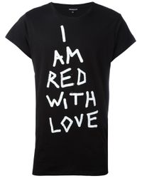 Ann Demeulemeester - Black Red With Love T-shirt for Men - Lyst