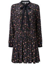 McQ | Black Pleated Floral Print Dress | Lyst