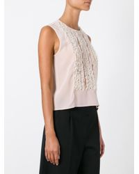 RED Valentino - Pink Lace Frills Tank Top - Lyst