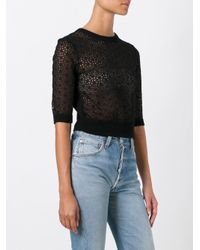 RED Valentino - Black Embroidered Blouse - Lyst