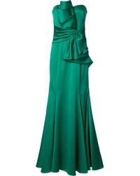 Badgley Mischka | Green Ruffled Waist Strapless Gown | Lyst