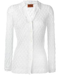 Missoni   White Open Knit Shirt   Lyst