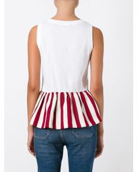RED Valentino - White Pleated Trim Top - Lyst
