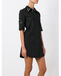 MM6 by Maison Martin Margiela - Black Studded Collar Shirt Dress - Lyst