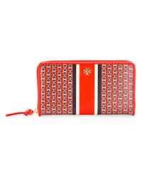 Tory Burch | Red All Around Zip Wallet | Lyst