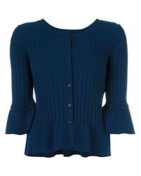 Twin Set | Blue Ruffled Hem Fitted Cardigan | Lyst