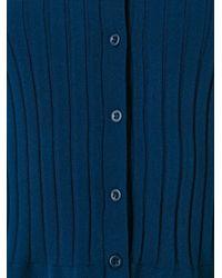 Twin Set | Blue Ruffled Hem Fitted Cardigan | Lyst