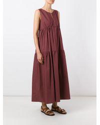 ODEEH - Red - Ruffled Shift Dress - Women - Cotton - 40 - Lyst