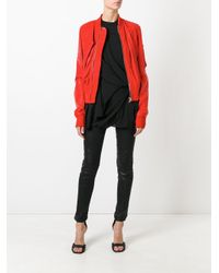 Rick Owens - Red Swoop Bomber Jacket - Lyst