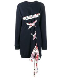 MSGM | Blue Lace-up Sweatshirt Dress | Lyst