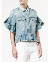 MSGM | Blue Ruffle-trimmed Denim Jacket | Lyst