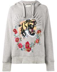 Gucci | Gray Embellished Oversized Hoodie | Lyst