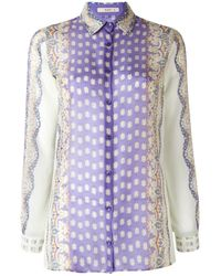 Etro - Purple Abstract Print Sheer Shirt - Lyst