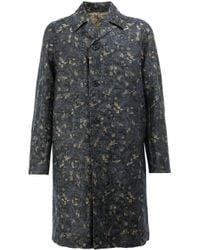 Dries Van Noten | Blue Jacquard Midi Coat for Men | Lyst