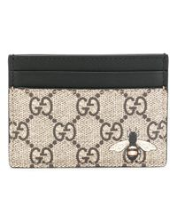 Gucci | Gray Gg Supreme Bee Print Cardholder for Men | Lyst