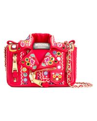Moschino | Red - Biker Jacket Shoulder Bag - Women - Cotton/calf Leather - One Size | Lyst
