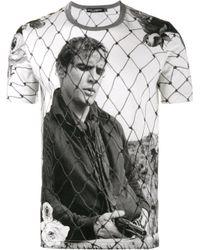 Dolce & Gabbana   White Marlon Brando Photography Printed T-shirt for Men   Lyst
