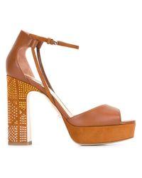 Dior | Brown Ankle Strap Platform Sandals | Lyst
