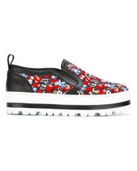 MSGM | Black - Slip-on Platform Sneakers - Women - Leather/nylon/rubber - 35 | Lyst