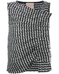 Erika Cavallini Semi Couture | Black Ruffled Plaid Tank | Lyst