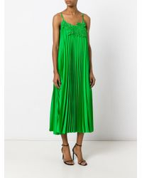 P.A.R.O.S.H. - Green Pleated Dress - Lyst