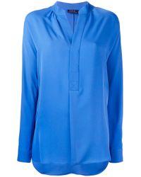 Polo Ralph Lauren - Blue - V Neck Blouse - Women - Silk - M - Lyst