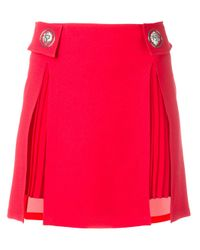 Versus | Red Pleated Trim Studded Skirt | Lyst