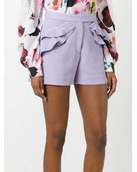 Elie Saab - Purple - Ruffle Detail Shorts - Women - Polyester/spandex/elastane/rayon/viscose - 40 - Lyst