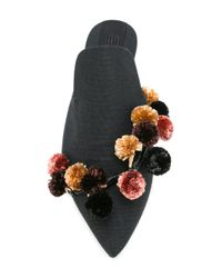 Sanayi 313 | Black Pompom Embellished Mules | Lyst