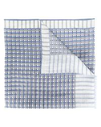 Canali - Blue Grid Pattern Scarf for Men - Lyst