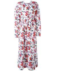 MSGM | White Floral Print Maxi Dress | Lyst