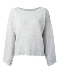 Vince | Gray Drop Shoulder Oversized Knit Top | Lyst