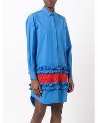 MSGM   Blue Frill Hem Shirt Dress   Lyst