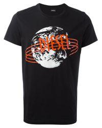 DIESEL | Black Retro Print T-shirt for Men | Lyst