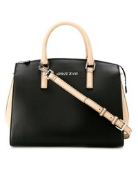 Armani Jeans | Black Contrast Panel Tote Bag | Lyst