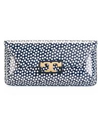 Tory Burch | Blue - Logo Polka Dot Clutch - Women - Leather - One Size | Lyst
