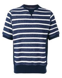 The Gigi - Blue Horizontal Stripe Sweater T-shirt for Men - Lyst