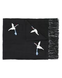 The Kooples | Black - Embroidered Bird Scarf - Women - Silk/cotton/viscose - One Size | Lyst
