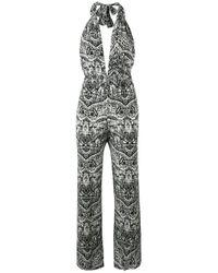 Evarae | Black Printed Halter Neck Jumpsuit | Lyst